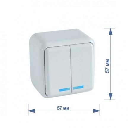 Выключатель RIGHT HAUSEN ASTRA NV 2-й наружный с подсветкой белый HN-017041