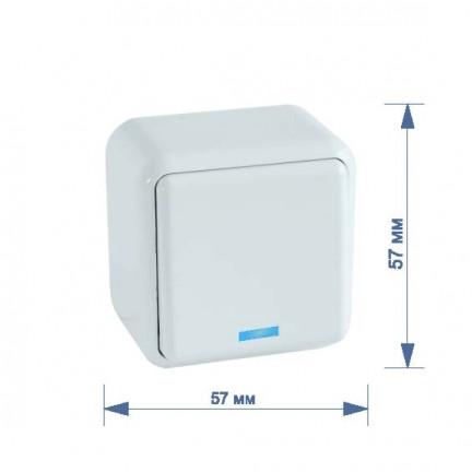 Выключатель RIGHT HAUSEN ASTRA NV 1-й наружный с подсветкой белый HN-017021