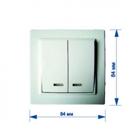 Выключатель RIGHT HAUSEN KIRA 2-й внутренний с подсветкой белый HN-016051