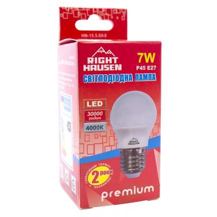 Лампа RIGHT HAUSEN LED Standard ШАР 7W E27 4000K, G45  HN-155040