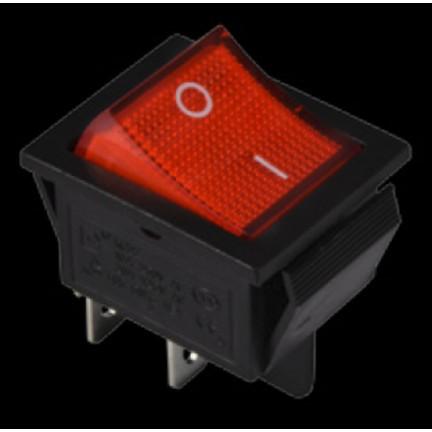 Переключатель КСD2-201N R/B 220V 1 клавиша (красный с подсветкой) АСКО