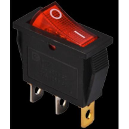 Переключатель КСD3-101N R/B 220V 1 клавиша (красный с подсветкой) АСКО