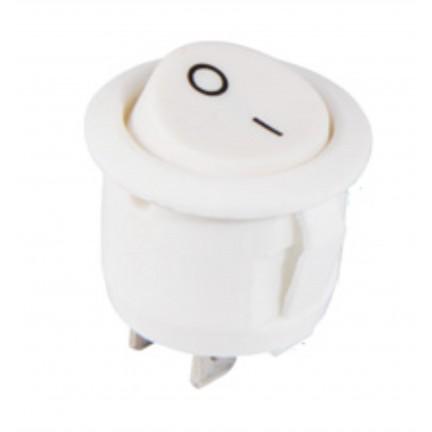 Переключатель КСD1-5-101 WH/WH 1 клавиша круглый (белый) АСКО NEW