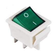 Переключатель КСD2-201N GR/WH 220V 1 клавиша (зеленый с подсветкой) АСКО NEW