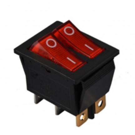 Переключатель КСD2-2101N R/B 220V 2 клавиши (красный с подсветкой) АСКО NEW