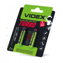 Батарейка VIDEX LR03 щелочная, AAA Turbo blister 2 pcs