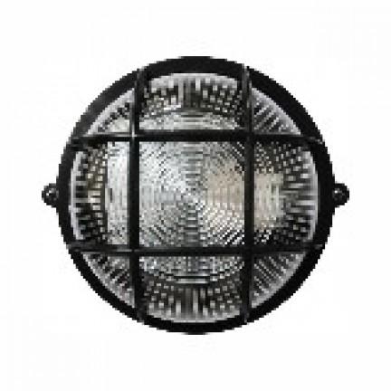 Светильник круг НПП-65 черный прозрачный с рисунком с решеткой ПП-1052-10-1/6