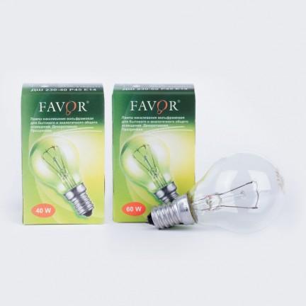 Лампа ЛОН Favor ДШ прозрачная Е14 40Вт (ИНДИВИДУАЛЬНАЯ УПАКОВКА)
