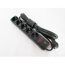 Фильтр компьютерный КРЕТ черный 4,5 м, 5 розеток USB