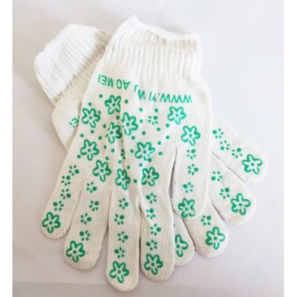 Перчатки х/б Цветочек зеленая