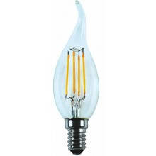 Лампа RIGHT HAUSEN LED Platinum Filament СВЕЧА НА ВЕТРУ 6W E14 4000K,  прозрачная C35T  HN-264030 NEW