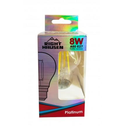 Лампа RIGHT HAUSEN LED Platinum Filament А60 8W E27 4000K прозрачная HN-261020 NEW
