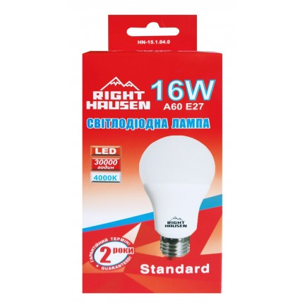 Лампа RIGHT HAUSEN LED Standard A65 16W E27 4000K HN-151040