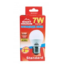 Лампа RIGHT HAUSEN LED Standard ШАР 7W E27 2700K, G45  HN-155041