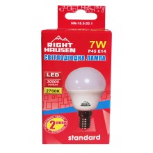 Лампа RIGHT HAUSEN LED Standard ШАР 7W E14 2700K, G45  HN-155031