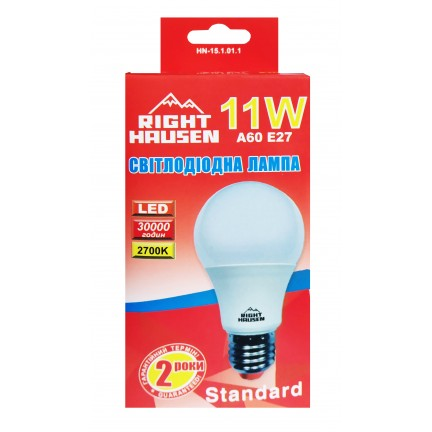 Лампа RIGHT HAUSEN LED Standard A60 11W E27 2700K  HN-151011