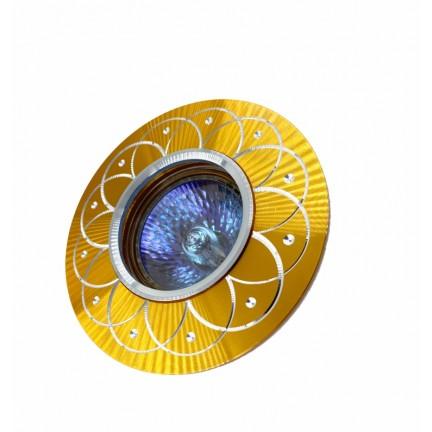 Светильник встраиваемый MR16 RIGHT HAUSEN серебряный рисунок золото HN-276048