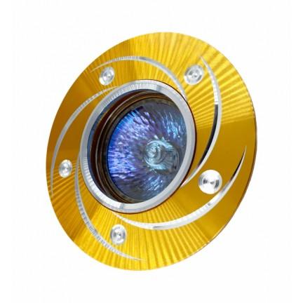 Светильник встраиваемый MR16 RIGHT HAUSEN серебряный узор золото HN-276038
