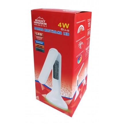 АКЦИЯ Настольная лампа RIGHT HAUSEN LED 4W (аккумулятор) белая RGB подсветка, USB питание, сенсор с будильником