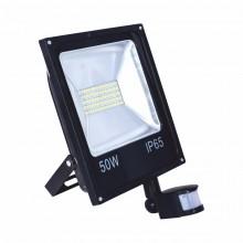 Прожектор RIGHT HAUSEN STANDARD LED  50W 6500K IP65 черный с датчиком движения PR
