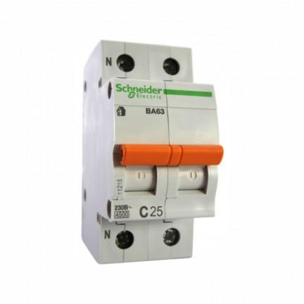 Автоматический выключатель SCHNEIDER ВА63 1Р+n 63А 2 полюса С 11219