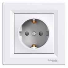 Розетка SCHNEIDER ASFORA 1-я внутренняя с/з с защитными шторками белая ЕРН2900221