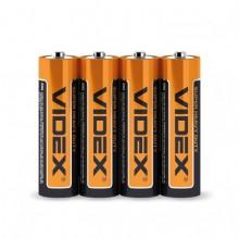 Батарейка VIDEX R06 солевая, P/AA shrink/4pcs